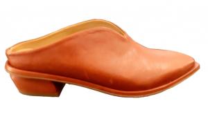 Sabot donna   in pelle color bruciato   fondo in cuoio   lavorazione artigianale  tacco 3 cm   Made in Italy
