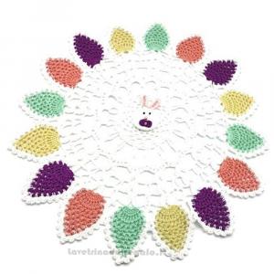 Centrino coniglio pasquale ad uncinetto ø 39 cm Handmade - Italy