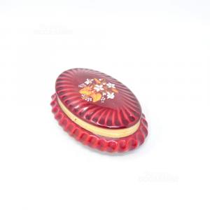 Scatolina Portagioie Rossa In Ceramica 12x8 Cm