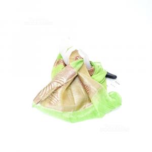 Foulard 100 % Silk Green And Beige