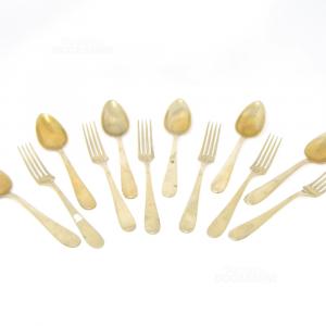 6 Cucchiai + 6 Forchette In Alpacca