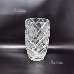 Vaso In Cristallo 25x14 Intagliato