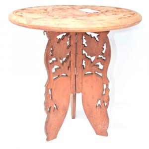 Tavolino Intarsiato Elefanti Orientale In Legno 38x39 Cm , Pieghevole