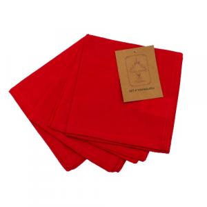 Confezione 4 tovaglioli rossi cotone
