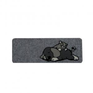 Tappeto rettangolare 27x70 cane e gatto fondo grigio