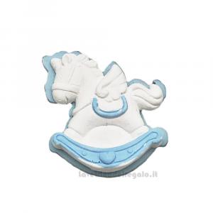 Gessetto Cavallo a Dondolo Bianco e Celeste 4 cm - Decorazioni battesimo bimbo