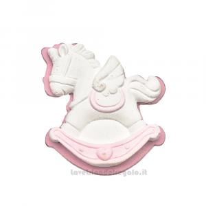 Gessetto Cavallo a Dondolo Bianco e Rosa 4 cm - Decorazioni battesimo bimba