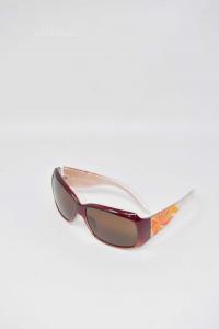 Occhiali Da Sole Nuovi Assoluto Made In Italy Modello 360 Girandola Rosso Arancio