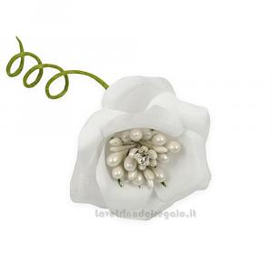 6 pz - Fiore artificiale Rosellina Bianca con Punto Luce e perle 4 cm - Decorazioni bomboniere