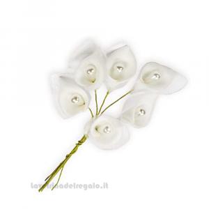 6 pz - Fiore artificiale piccola Calla bianca 2 cm - Decorazioni bomboniere