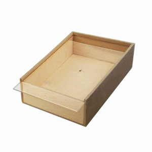 Scatola in legno con coperchio scorrevole trasparente 28,6x17
