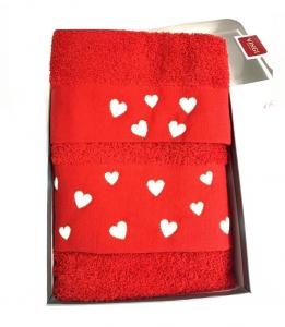 Set asciugamani  cuoricini