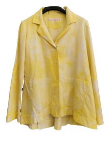 Giacca donna giallo fluo | tye&dye | bottoni anteriori | collo uomo | manica lunga | tasche anteriori  |Made in Italy