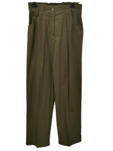 Pantaloni donna | verde militare | vita alta con pinces | modello morbido | cotone | Made in Italy