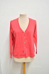 Cardigan Donna Rosso 100% Cotone Made In Italy