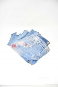 Jeans Donna Clockhouse Con Stampa Fiori Tg 38