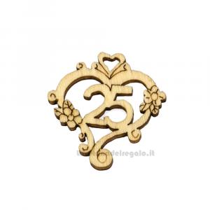 Applicazione 25 Anni Insieme Anniversario in legno 3 cm - Decorazioni nozze d'argento