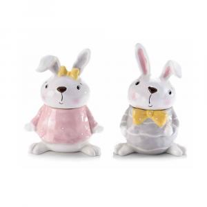 Set due barattoli portadolci in ceramica a coniglio