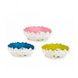 Set 3 ciotole decorative a uovo in ceramica colorata