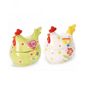 Set due barattoli portadolci in ceramica colorata a forma di gallina