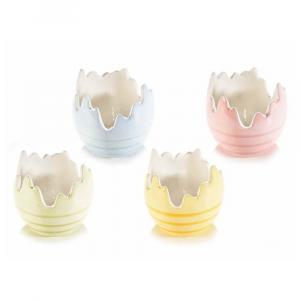 Set 4 contenitori a uovo in ceramica colorata a righe