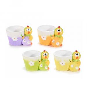 Set 4 vasetti in ceramica colorata con pulcino