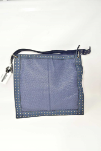Borsa Donna In Ecopelle Blu E Borchie
