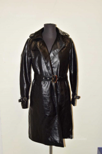 Cappotto Donna In Ecopelle Effetto Serpentato Nero New Collection Tg L