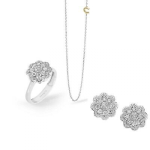 Completo Comete Gioielli in oro bianco 18k con diamanti ANB2403