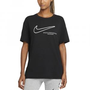 Nike T-Shirt Swoosh Nera da Donna
