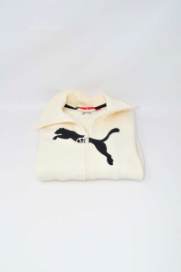 Sweatshirt Baby Girl Puma 10a White With Cuciture Black