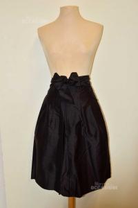 Skirt Woman Black Abital Size.46 With Belt 100% Silk