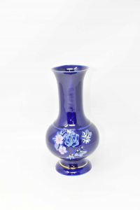 Ceramic Vase Blue With Flowers In Relief High 22 Cm