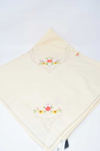 Tea Placemat Hand Embroidered Made In Italy 85x85 Cm
