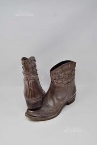 Ankle Boots Woman Spaziozero8 Brown Borchiati N°.41 True Leather