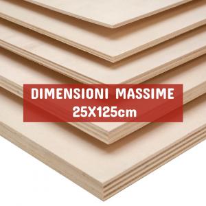 Tavola Compensato Multistrato Pioppo - DIMENSIONI: 25X125cm - Spessore 25mm - Scegli tu le misure!