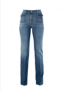 KOCCA JAMILA Jeans denim blu a zampa con taschini sul davanti