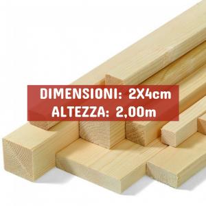 Listello Abete Piallato - DIMENSIONI: 2X4cm - Altezza: 2,00mt - Scegli tu le misure!