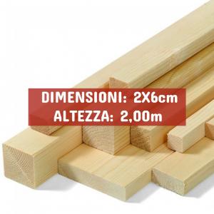 Listello Abete Piallato - DIMENSIONI: 2X6cm - Altezza: 2,00mt - Scegli tu le misure!