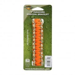 Bracciale paracord con chiusura a clip colorazione arancio