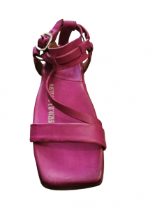 Sandalo donna | in pelle fuxia | con laccio alla caviglia |bpunta quadrata | fascia anteriore | Made in Italy