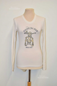 T-shirt Woman Denny Roses White With Pippi Calzelunghe White