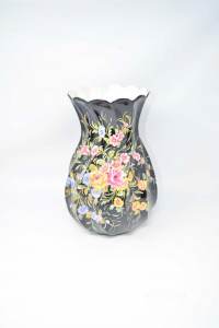 Vase Hand Painted Flowers Su Background Black Antonella High 33 Cm