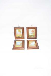 Serie Di 4 Quadri Piccoli Dipinti A Mano 10.5x13 Cm