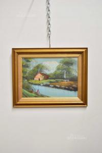 Quadro Paesaggio Con Fiume E Casa 46x36 Cm