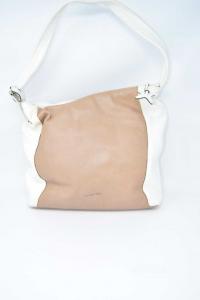 Borsa Cromia In Vera Pelle Bianca Beige 31x10x25 Cm