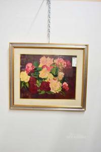 Quadro Dipinto Vaso Di Fiori Lili Bra98 68x57 Cm I