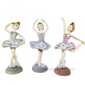 Ballerina danza classica glitter in resina 13 cm - Bomboniere comunione bimba