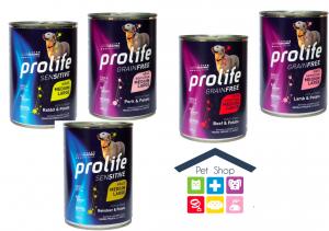 Prolife | Linea Umido Cane | Adult Sensitive Grain Free - All Breeds - Vari gusti (maiale,manzo, agnello,renna,coniglio/ 400gr