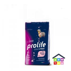 Prolife | Linea Sensitive GRAIN FREE | Adult Medium/Large - Maiale e Patate / 2,5 kg - 10 kg